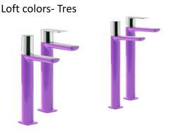 Single lever washbasin mixer with base extension, loft Colors Tres, purple finish