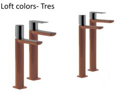 Single lever washbasin mixer with base extension, loft Colors Tres, brown finish