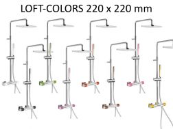 Wall thermostatic shower mixer LOFT-COLORS-tres, fixed shower head 220x220