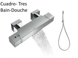 Tapware Wall thermostatic bath and shower mixer CUADRO-tres; with cascade: chrome finish