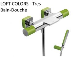 Tapware Wall thermostatic bath and shower mixer LOFT-COLORS; with cascade. Shower Antilime. Shower hose satin