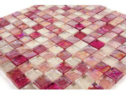 Panache Paillette Cherry Alcool, Mosaic glass tile 30,5x30,5 cm. Mat Inter
