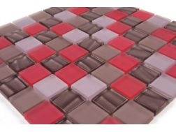 Verre Satin� Rose Allemagne, Mosaic glass tile 30x30 cm. Mat Inter