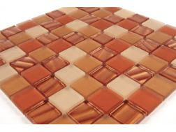 Verre Satin� marron Allemagne, Mosaic glass tile 30x30 cm. Mat Inter