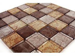 Verre GL Marron Gold Leaf 50x50, Mosaic glass tile 30x30 cm. Mat Inter