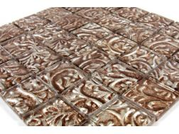 Verre Relief Antique Dor�, Mosaic glass tile 30x30 cm. Mat Inter