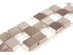 Inox Verre Blanc - Listello Tile glass and inox Mosaic Borders.