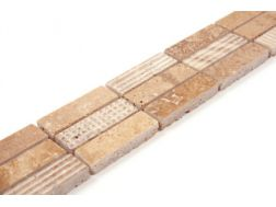 BLUETOOTH BEIGE - Frieze or Listello mosaic marble tiles.