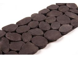 MINI GALETS RECTIFIES NOIR BRILLANT - Frieze or Listello mosaic tiles stone