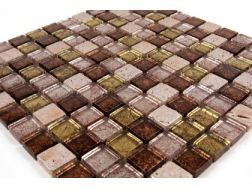 Inde Delhi brown /silver ,Mosaic tiles   2,5x2,5 cm