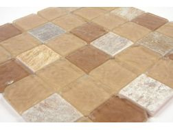 Indiens Apache glass beige/stone Mosaic mixture tiles 5x5 cm