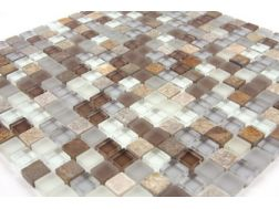 Tuscon  315 glass grey/brown Mosaic mixture tiles  1,5x1,5 cm