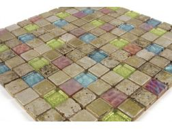 Laredo  glass and painted stone  Mosaic mixture tiles  2,5x2,5 cm