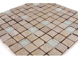 Malaga  glass and painted stone  Mosaic mixture tiles  2,5x2,5 cm