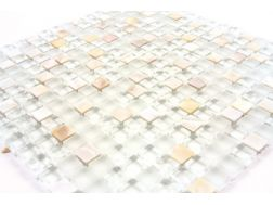 Mixture shiny pearl / glass  Mosaic mixture tiles  1,5x1,5 cm