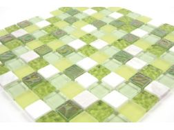 Mananjary glass green/marble white  Mosaic mixture tiles  2,5x2,5 cm
