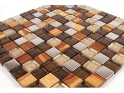 Calgary GLASS BROWN / LIGHT WOOD / METAL- Mosaic mixture tiles  2,5x2,5 cm