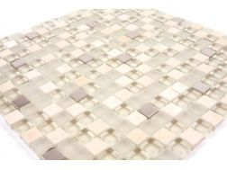 Inox BE  marble/glass beige/stainless steel  Mosaic mixture tiles  1,5x1,5 cm