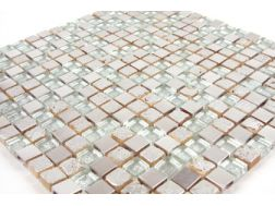 Inox Dubai  painted stone / glass / metal - Mosaic mixture tiles  1,5x1,5 cm
