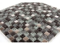 Inox Gris/Alu Mosaic mixture tiles  1,5x1,5 cm