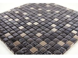 Inox Noir  glass and stainless steel - Mosaic mixture tiles  1,5x1,5 cm