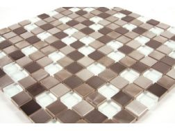 Inox Viblanc  white glass/stainless steel - Mosaic mixture tiles  2x2 cm