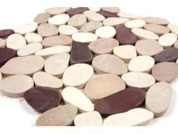 Pebbles rectified, Mosaic White/Beige /plum. Mat Inter