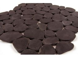 Pebbles rectified, Mosaic glossy black. Mat Inter