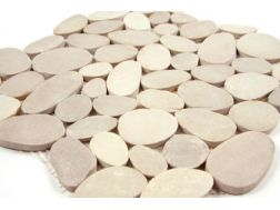 Pebbles rectified, Mosaic beige. Mat Inter