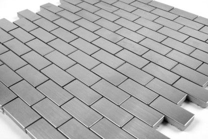 Mosaic Tile Brushed Stainless Steel Briquettes 20x40 Cm Mat Inter