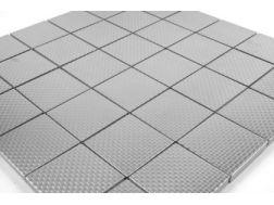 Mosaic Tile Brushed Stainless Steel  Carven Check 50x50 cm. Mat Inter