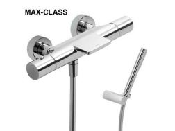 Tapware Wall thermostatic shower mixer MAX-CLASS; with cascade. Shower Antilime. Shower hose satin : chrome finish