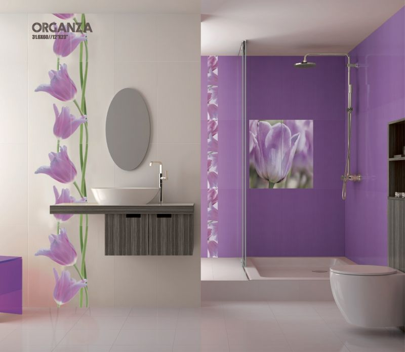 Tiles mural d co organza rosa listel prints wall for Carrelage mural blanc salle de bain