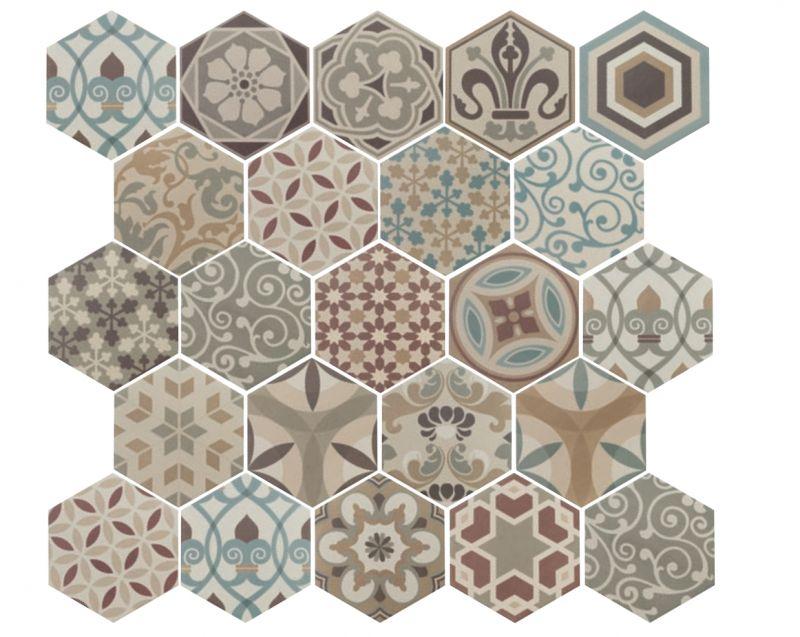 floor and wall tiling hexagonale sol art deco 1 hexagonal colours 17 5x20 floor tile. Black Bedroom Furniture Sets. Home Design Ideas