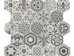 Art Deco 2 Hexagonal B&W 17,5x20  - Floor tile hexagonal, imitation cement tiles, Porcelain.