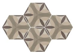 Art Deco 7 octogonal Cream 17,5x20  - Floor tile hexagonal, imitation cement tiles, Porcelain.