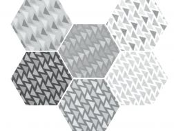 Art Deco 2 Hexagonal B&W Mate 17,5x20  - Floor tile hexagonal, imitation cement tiles, Porcelain.