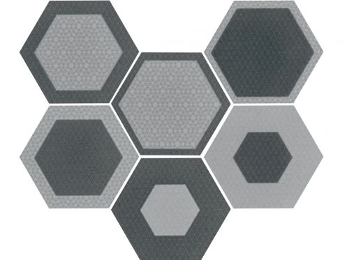 Art Deco 3 Hexagonal Mate 17,5x20  - Floor tile hexagonal, imitation cement tiles, Porcelain.