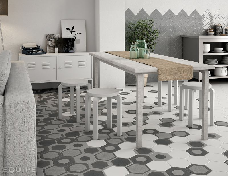 Floor and wall tiling. Aspect Cx. Ciment - Art Deco 3 Hexagonal Mate ...