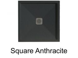 Square shower tray, with border, Square Q3 anthracite 80x80