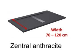 Shower tray 120 cm, resin, desing central siphon, extra- flat, stone effect, anthracite  color