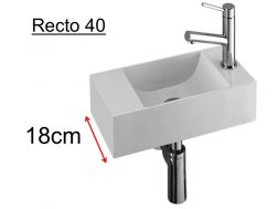 Washing hands resin depth 18 cm, fitting right - RECTO 40 Benesan