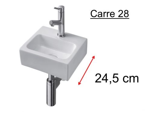 Washing hands ceramic depth 25 cm - CARRE 28 Benesan