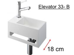 Compact cloakroom 18 cm, matt-white Solid Surface, towel integrated front, fitting left, Elevator 33 Benesan