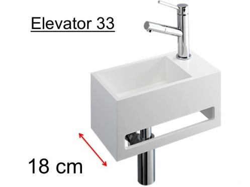 Compact cloakroom 18 cm, matt-white Solid Surface, towel integrated front, fitting right, Elevator 33 Benesan