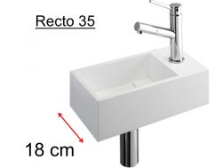 Toilet basin for toilet, evacuation concealed by a removable lid, depth 180 mm, tap fittings on the right - RECTO 35BS Benesan.