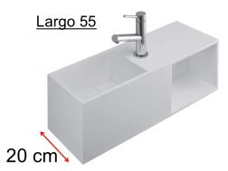 Washbasin furniture deluxe 20 cm, Solid Surface white-matt, with storage space - LARGO 55 BS benesan