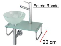 Glass washbasin, with washbasin on glass shelf, stainless steel stand, width 25 cm - ENTREE RONDO Benesan