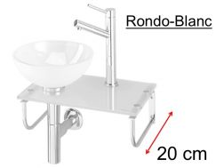 Glass washbasin, with washbasin on glass shelf, stainless steel stand, width 25 cm -  ENTREE RONDO Benesan (3)