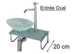 Glass washbasin, with oval bowl to place on glass shelf, stainless steel support, width 25 cm - ENTREE OVAL Benesan